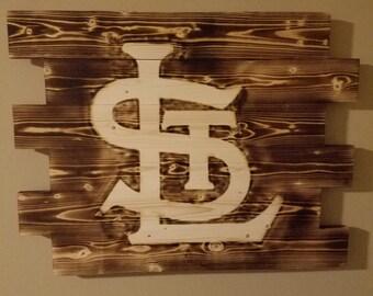 St Louis Cardinals wall art, rustic wall art, wood burn sign, man cave
