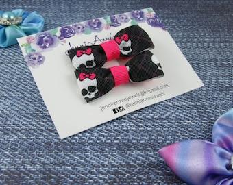 Bow Tie Hair Clip - Set of 2 - Skulls