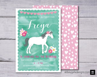 Horse Birthday Party Invitation, Pony Party Printable, Personalised Horse Party, Cowgirl Invitation, Green and Pink, Floral Pony Invitation