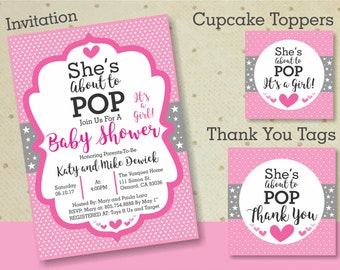 Baby Shower Package - Printable Baby Shower Set - Baby Shower About To Pop Invitation, Cupcake Toppers, and Thank You Tags. It's a Girl!