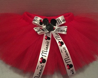 MINNIE MOUSE TUTU, Baby Tutu, Newborn Photo Prop, Infant Tutu, Tutu for Babies, Newborn Tutu, Tutu and Hairbow, Red Tutu, 0-18 Month Tutu