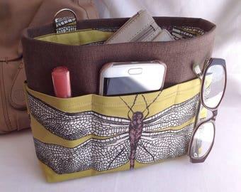 Handbag insert - Bag organiser - Handbag Caddy - Purse insert - 'Dragonfly' Print
