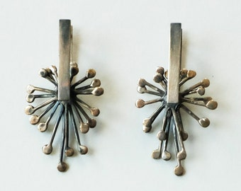 Large Sterling Silver Earrings, Drop Earrings, Leverback Earrings, Kinetic Earrings, Handmade Jewelry, Artisan Jewelry, Gift for Her