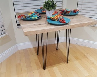 reclaimed barn wood rustic dinette kitchen table hairpin legs industrial kitchen table dining - Barnwood Kitchen Table