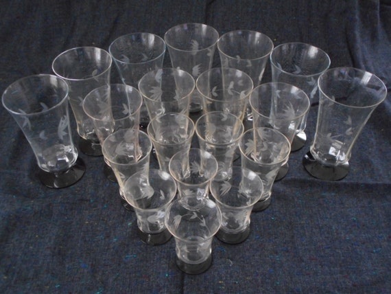 Antique Elegant Glass Flowered Etched Stemware Glass lot with Amethyst Glass Base GORGEOUS!