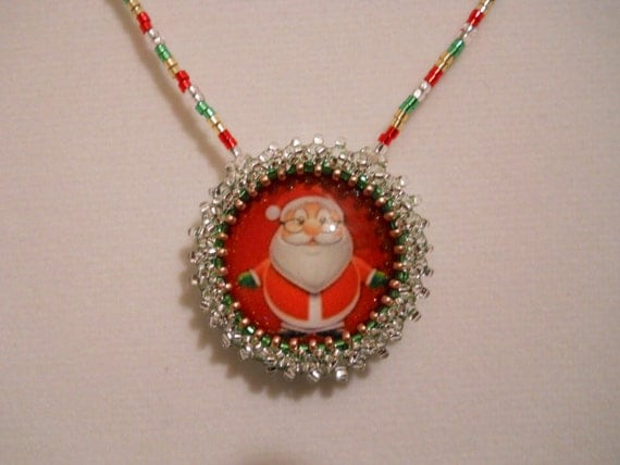 Santa Necklace and Earrings w/ Gold Plated Clasp