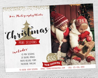 Holiday Mini Session Template, Photoshop Template, Christmas Marketing Board, Photography Marketing, Christmas Marketing, Chalkboard