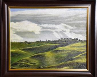 Striking Merrill Campbell Original Oil Painting – Tuscan Landscape