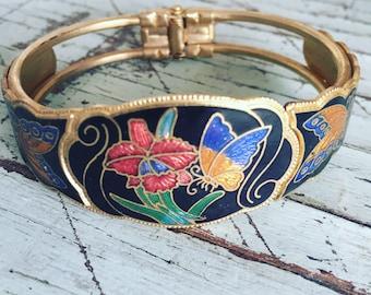 Bracelet, Vintage cloisonne bracelet, floral & butterfly cuff bracelet, hinged bracelet, metal bracelet.