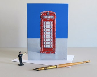 Telephone box card, telephone booth card, Red phone booth card, vintage telephone card, London telephone box, Diecast Toy - BEST OF BRITISH