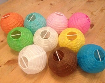 Pack of 10x 10cm Diameter Paper Chinese Lantern - Assorted Colour - Wedding, Party, Crafts