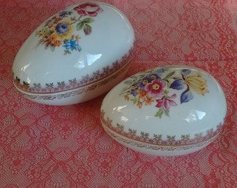Dresden Egg Shaped Trinket Boxes With Gold Gilt Edges Available In Small Or Large