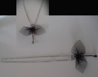 Tutu-black butterfly. Necklace-pendant Butterfly tutu black.