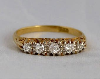 Victorian 18 CT 18 k 18 ct gold ring with diamonds