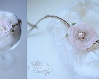 Delicate Newborn Flower Tie Back Headband, Newborn Photo Prop, Hair Accessory for Babies