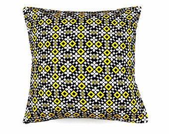 Decorative pillow, Retro cushion cover, vintage 60's fabric, yellow, throw pillow, geometric design, home accessories, home decor