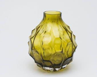 Vintage glass vase, 1960's green glass vase, retro style vase, retro green vase, vintage vase, retro vase, vintage glassware, glass vase