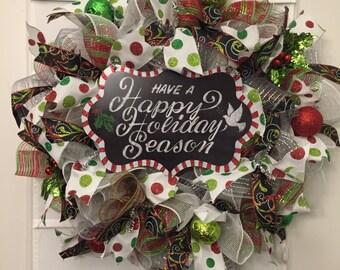 Holiday wreath, Christmas wreath, polka dot holiday wreath, Holiday Season wreath, handmade wreath, custom wreath, deco mesh wreath