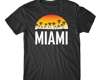 Miami Florida Sunset And Palm Trees Beach Vacation T-Shirt