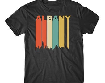 Vintage Retro 1970's Style Albany New York Cityscape Downtown Skyline T-Shirt