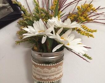 Old Fashion Mason Jar Wall Vase