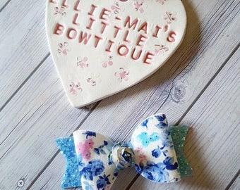 Blue Floral Cluster Bow