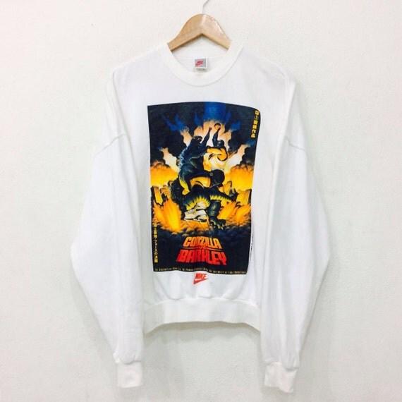 Sale Rare!! Vintage NIKE Charles Barkley vs Godzilla Basketball Crew Neck Sweatshirt White Colour Large Size