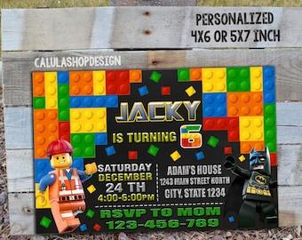 Lego / Lego Invitation / Lego Birthday / Lego Party / Lego Birthday Party Invitation / Lego Party Invitation/ Lego Mini Figure_CB319