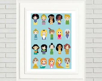 Disney Princess Cross Stitch Pattern/princess cinderella/disney pattern/princess patterns/disney cross stitch/#08-003