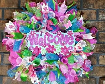 Welcome Wreath, Front Door Wreath, Spring Wreath, Spring Decor, Spring Deco Mesh Wreath,  Spring Door Decor, Spring Wreath for Front Door,