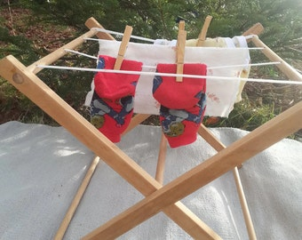 Montessori wooden clothesline, drying rack, clothes washing stand