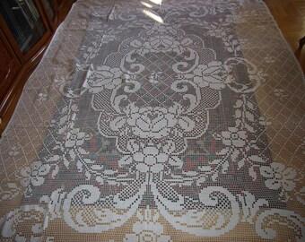 Huge Crocheted Vintage Rosey Bedspread