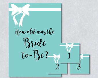 How old was the bride to be / Bridal shower game / Bridal and co theme / Light blue color / White Ribbon / DIY Printable / INSTANT DOWNLOAD