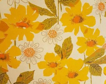 70's Vintage WALLPAPER - Bright Flowers - Waldec - 50cm lots - Flower Power