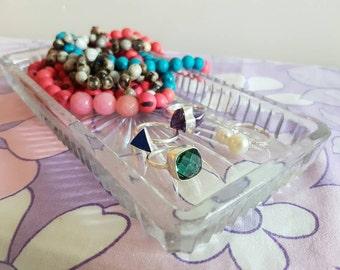 Sunburst Glass Tray - Trinkets -Retro Vintage - Starburst