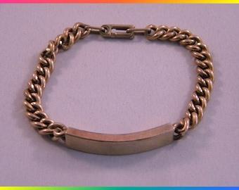 World War II Amico Identification Bracelet, Blank, 1/20 12k Gold on Sterling Silver
