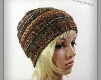 Knitted slouch hat - brown autumn colors - beehive slouchy hat - hand knit womens hat - winter accessories