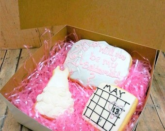 Bridesmaid Cookie Box - Will You Be My Bridesmaid - Bridesmaid Gift - Bridesmaid Cookies -  Decorated Cookies - Sugar Cookies