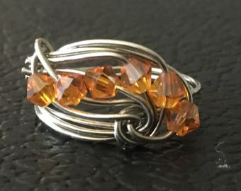 Fire Orange Crystal and Silver Wire Ring