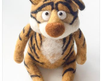 Plush Tiger felted wool/stuffed in felted wool Tiger