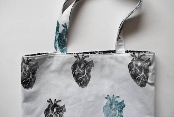Anatomical Heart Block Printed Tote Bag // Black & Turquoise