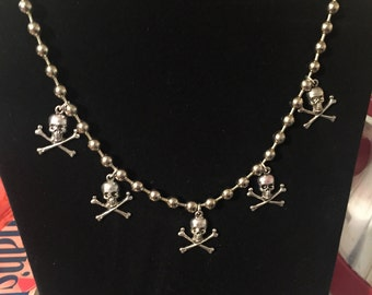 Ball chain with skull and cross bones