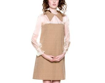 Sheer Panel Smock Dress
