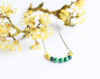 LÉNAÏG necklace - 925 sterling silver and semi precious beads - spring/summer 2017 (minimalist, green, yellow, silver, fine, wedding)