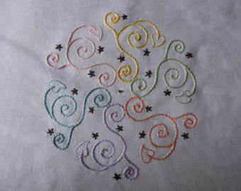 Hand Embroidery Pattern, Hand Embroidery Quilt Square, Swirl and Hearts Embroidery Pattern, Pastel Swirls Hand Embroidery Pattern
