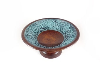 Vintage ornate metal patina decorative pedestal bowl, blue patina metal art, pedestal trinket bowl,vintage brown metal  decor bowl