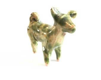 SALE Dog Animal Figurine - Terrarium Figurine - Ceramic Sculpture - Hand built Stoneware