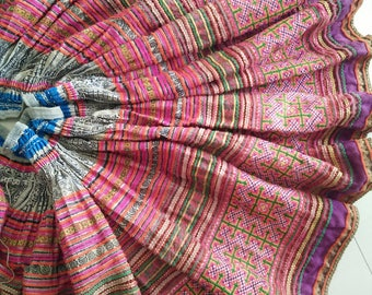 Tribal Hmong Karen Ethnic Hilltribe Cross Stitch Fabric Textiles From Cloths, Craft Supplies, Home Living Decorate, All your summer inspire