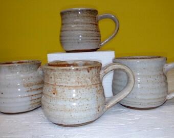 Set of 4 STONEWARE MUGS by TC Pottery Studio - Handmade - Shino Art Glaze