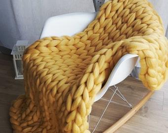 Chunky Knit Blanket. Super Merino Wool. Super Chunky Knits. Chunky Blanket,PLED Z OWCZEJ WEŁNY.